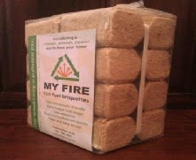 Made from compressed sawdust. Ideal for closed fireplaces. Burns for a long time, no sparks or spitting and leaves little ash.